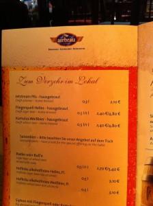 prijslijst bier München